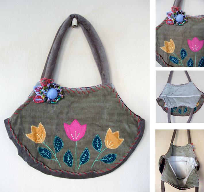 Bolsa De Fuxico Artesanato : Bolsa bordada veludo fuxico babel das artes