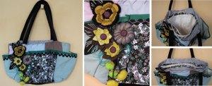 B003 Bolsa verde com fuxico e flores de crochê - Peça única!