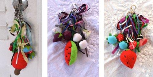 Chaveiro com frutas de tecido e feltro: R$ 20 + frete