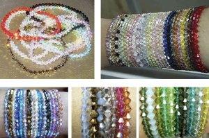 As pulseiras e anéis são tecidos com fios de silicone (com alguma elasticidade).