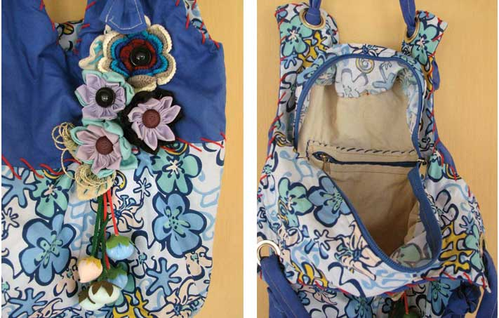 Bolsa De Tecido Redonda : Bolsa redonda fuxico flores babel das artes