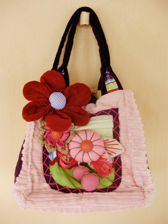 Bolsa De Tecido Artesanal : Bolsa artesanal flores tecido babel das artes