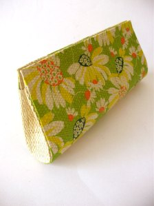 Carteira palha de buriti Floral Verde